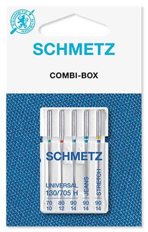 Иглы schmetz combi box 1x70 1x80 1x90-universal 1x90-jeans 1x90-stretch