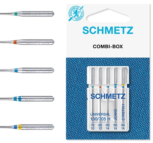 schmetz combi box 1x70 1x80 1x90-universal 1x90-jeans 1x90-stretch