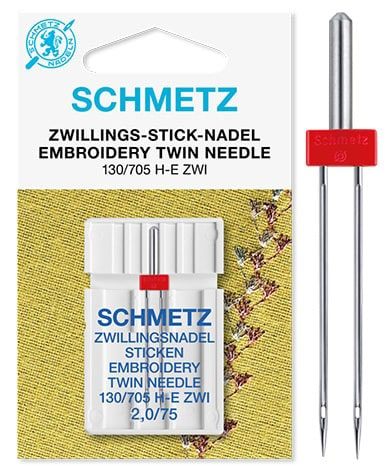 schmetz twin embroidery 2,0/75